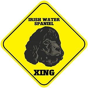 """Aluminum Cross Sign Irish Water Spaniel Xing Crossing Metal Wall Decor - 12""""x12"""" 19"""