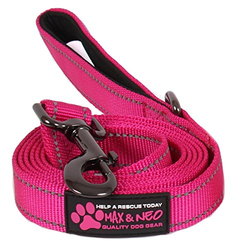 Max and Neo Small Dog Reflective Nylon Dog Leash – We Donate a Leash to a Dog Rescue for Every Leash Sold (Pink, 6 FT x 5/8″)