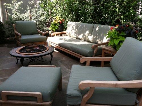 WholesaleTeak Sunbrella Fabric Cushions (Seat & Back) for Sack 7pc Sofa Set: Sofa, 2 Lounge Chairs & 2 Ottomans - Cushions only #WHSSSK7CS