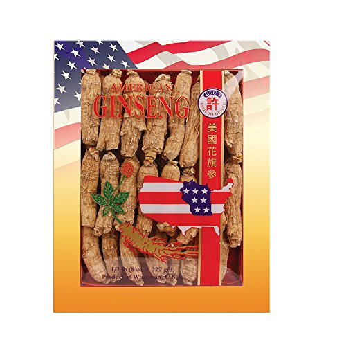 SKU 0131-8, Hsu s Ginseng Half Short Large Cultivated American Ginseng Roots 8 oz 227 gm box , with one free single American ginseng tea bag, 131-8, 131.8