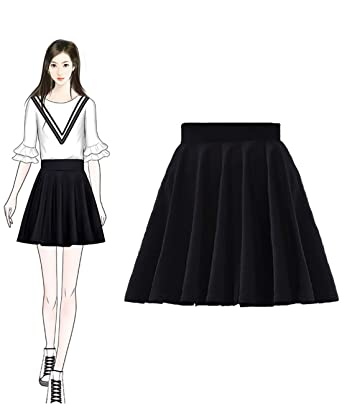 d2afea6052b13 Femirah Women's Black Casual Mini Stretch Waist Flared Plain Pleated Skater  Skirt (X-Small