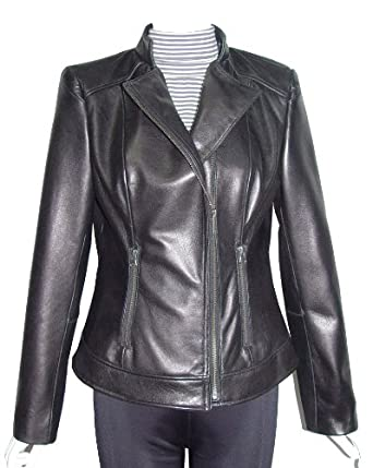 Nettailor Women Larger PLUS & ALL SIZE 4064 Leather Moto Jacket Stand Collar