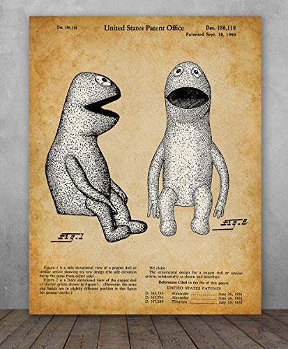 (Poster - Kermit the Frog Muppet Patent - Choose Unframed Poster or Canvas - Makes a Great Gift for Hairstylists or)