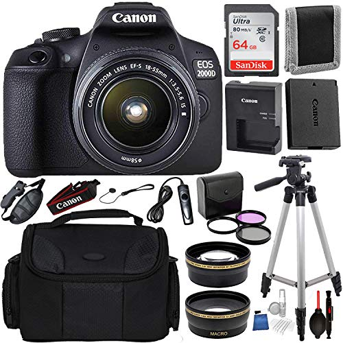 Canon EOS 2000D (Rebel T7) Digital SLR Camera w/ 18-55MM is ii Lens Kit (Black) Professional Accessory Bundle Package Includes: SanDisk 32gb Card (2CT) + 50'' Tripod + Canon Bag and More