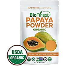 Biofinest Papaya Powder - 100% Pure Freeze-Dried Antioxidants Superfood -USDA Certified Organic Vegan Raw Non-GMO - Boost Digestion Weight Loss - for Smoothie Beverage Blend (4 oz Resealable Bag)