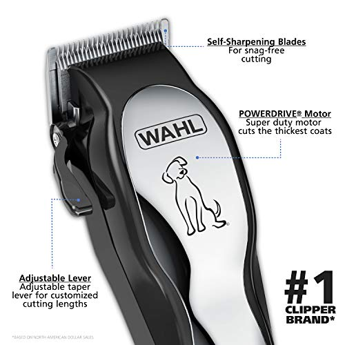 Wahl Clipper Pet-Pro Dog Grooming Kit - Quiet Heavy-Duty Electric Corded Dog Clipper for Dogs & Cats with Thick & Heavy Coats - Model 9281-210, Chrome/Gray