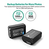 NP-FW50 RAVPower 2-Pack Camera Battery for Sony A6000, A6500, A6300, A7, A7II, A7RII, A7SII, A7S, A7S2, A7R, A7R2, A55, A5100, RX10 Replacement Batteries, Versatile Charging Option, 1100mAh