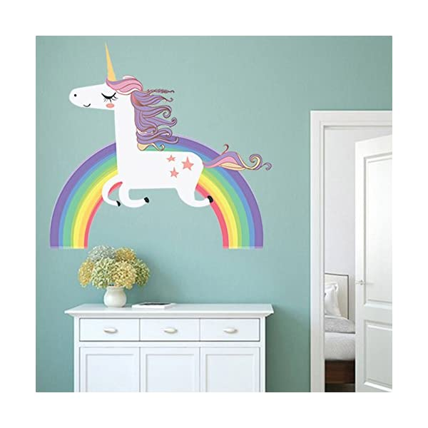 Havenport Rainbow Unicorn Wall Sticker for Girls Bedroom Wall Decal Art Nursery Home Decor 6