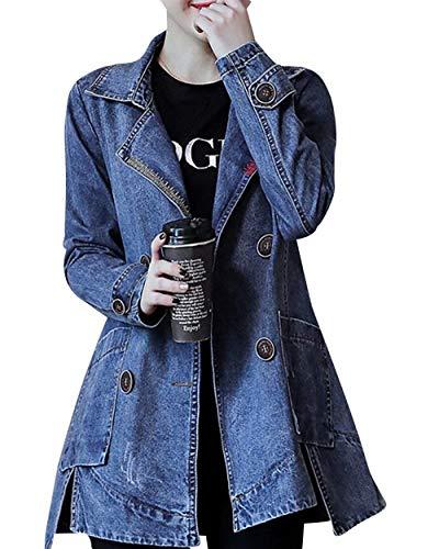 Denim Lunga Eleganti Blau Bavero Giacca Vintage Fashion Autunno Primaverile Allentato Outerwear Manica Double Jeans Chic Donna Giacche Da Alla Cute Moda Cappotto Breasted xgXqf0ca