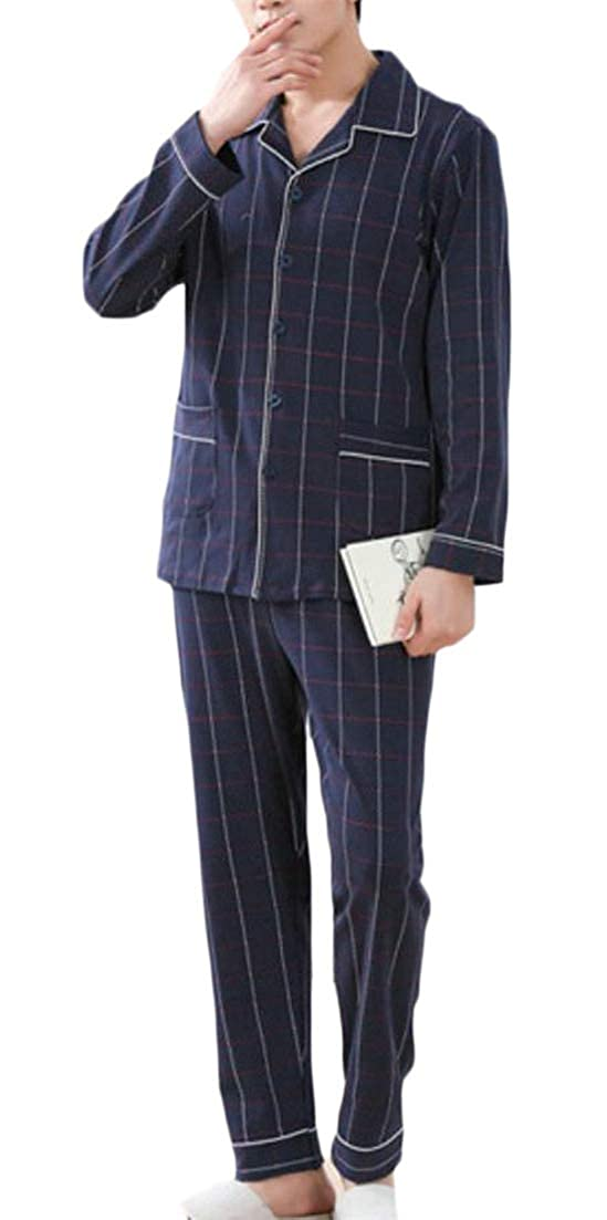 XiaoTianXinMen XTX Mens Lounge Cozy Nightie 2 Pcs Cotton Pajama Set