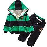 VANGULL Boys Chidren Kids Hoodies Sweater Pants Winter Outwear Coats Snowsuit Sets (3T/100, Black and Green)