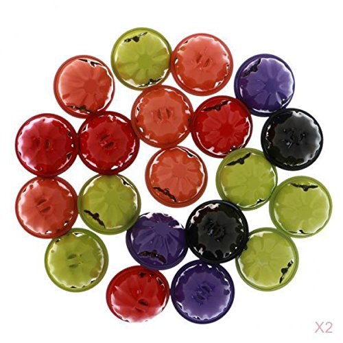 MagiDeal 40 Pieces Colorful Jingle Bells Christmas Halloween Pumpkin Bell Bead Charm Make Jewelry Pendant Crafts