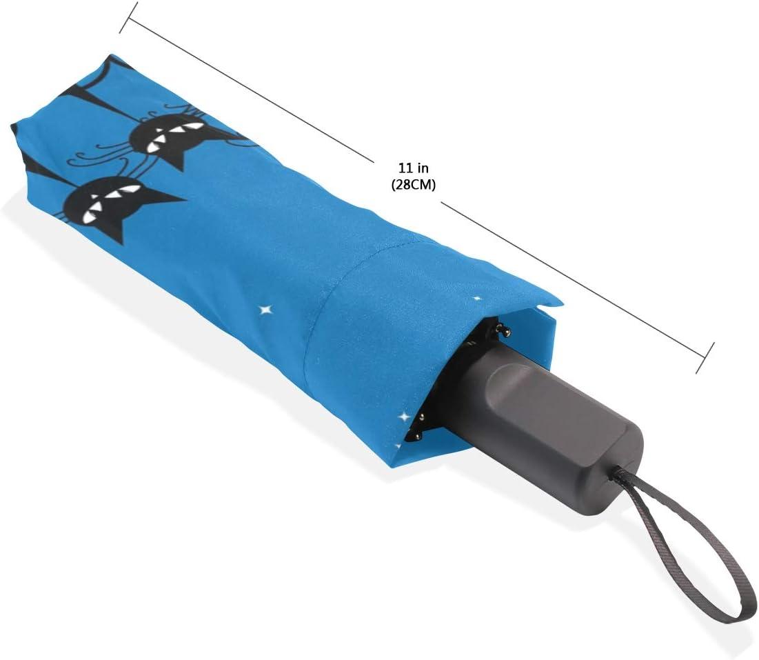 ISAOA Automatischer Reise-Regenschirm,kompakt,faltbar,S/ü/ße Katze K/ätzchen,Winddicht Stockschirm,Ultraleicht,UV-Schutz,Regenschirm f/ür Damen,Herren und Kinder