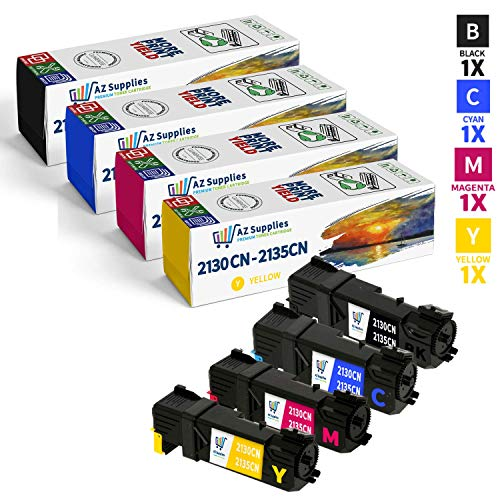 Dell 2130cn 2135cn Toner Cartridges - AZ Compatible Toner Cartridges Replacement for Dell 2130CN / 2135CN - 1 Black / 1 Cyan / 1 Magenta / 1 Yellow
