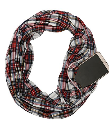 Lightweight Pocket Women Infinity Scarf – USAstyle 2018 New Plaid Scarf Spring Summer, Stretchy Soft Fashion Scarves Jersey,Travel Purse Long Scarf, 30-Day - Scarf Day Bag