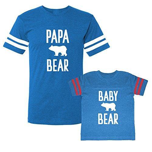 We Match!! - Papa Bear/Baby Bear (Cute Bear) - Matching Adult Football T-Shirt & Kids T-Shirt Set (3T, Adult Small, Cobalt/Pink, White Print) ()