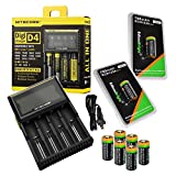 8 Pack EdisonBright EBR70 type 16340 RCR123A 3.7v rechargeable protected li-ion 700mAh batteries with Nitecore D4 smart digital battery charger