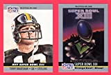 : 1990 Pro Set Football (Super Bowl #13) **** (2) Card Lot featuring Super Bowl MVP Terry Bradshaw and Super Bowl Program Cover (Steelers) (Cowboys)