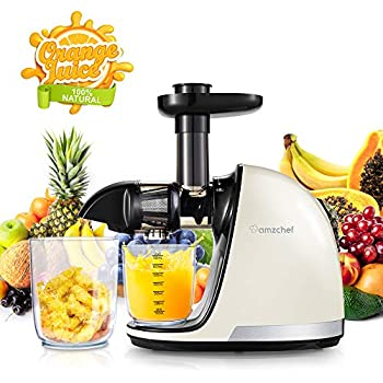 Slow Masticating Juicer,AMZCHEF Juicer Extractor Professional Machine with Quiet Motor/Reverse Function/Easy to Clean with Brush for High Nutrient Fruit ...
