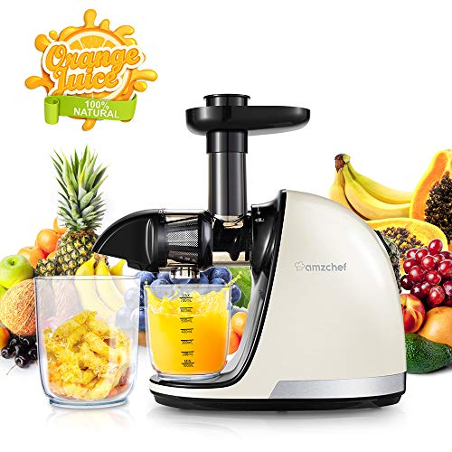 Slow Juicer,AMZCHEF Slow Masticating Juicer Extractor Professional Machine with Quiet Motor/Reverse Function,Cold Press Juicer with Brush,for High Nutrient Fruit & Vegetable Juice by AMZCHEF (Image #8)