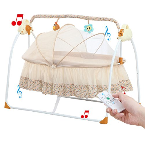 Bassinet Infant Steel (Baby cradle swing, Big Space Electric automatic baby swings for infants indoor&outdoor outside with dolls, Music. Boys or girls bassinets gift(Brown))