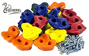 """20 Deluxe Extra Large Assorted Rock Climbing Holds with Installation Hardware for up to 1"""" Installation - Swing Set Accessories"""