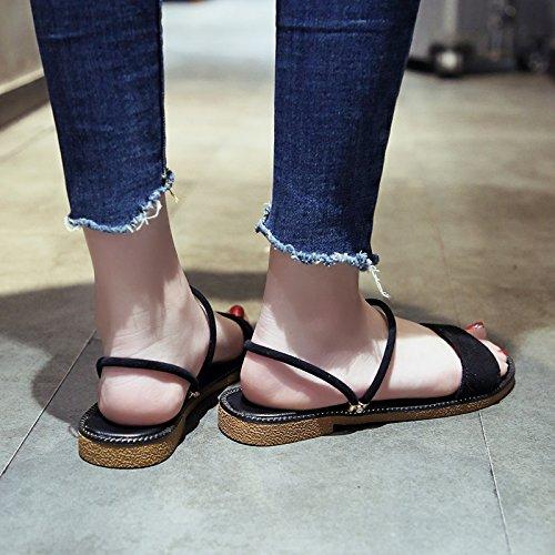 de Mujer Dedos Moda La A Plano Desgaste Verano Nuevo de de Sandalias Fondo de YMFIE qEzT5xnq