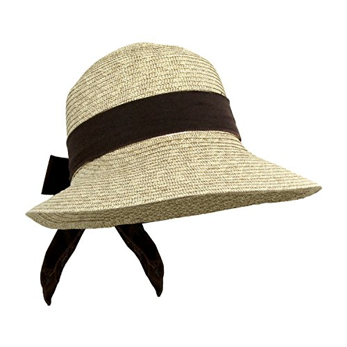 Brown Sash, Straw Packable Sun Hat Women, Wide Front Brim, Smaller Back, SPF 50