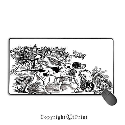 Stitched Edge Mouse pad,Hunting Decor,Hunting Dogs in Forest Monochrome Drawing English Pointer and Setter Breeds,Black White, Non-Slip Rubber Base,15.8