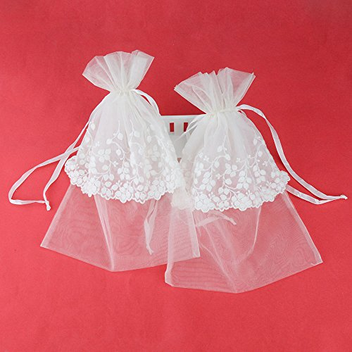 e3bc0805e3ec VU100 Organza Polyester Lace Bags with Double Drawstring,Elegant Floral  Jewelry Pouches Gift Wrap Favors Bags, for Wedding Party (8
