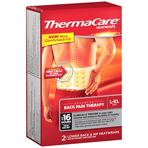 ThermaCare Lower Back & Hip Pain Therapy Heatwraps, L-XL Size (2-Count, Pack of 3) (Heat Air Pads Activated Therapy)