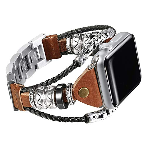 (Secbolt Leather Bands Compatible Apple Watch Band Series 4 40mm, Series 3/2/1 38mm, Double Twist Handmade Vintage Natural Leather Bracelet Replacement Bracelet Straps)