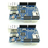 2pcs Ethernet Shield W5100 Controller Internet Expansion Board with SD Card Slot from Optimus Electric