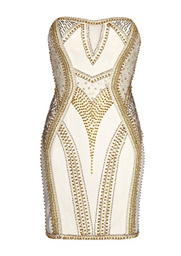 Forever Strapless Embellished Ivory Dress Unique Fitted LEESA xq8pfx4