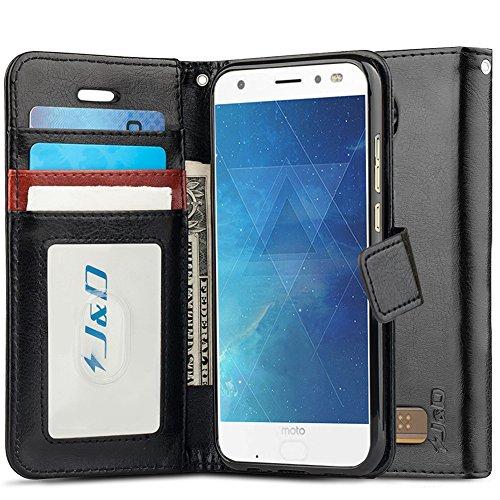 J&D Case Compatible for Moto Z2 Force Edition/Moto Z2 Force Case, [Wallet Stand] [Slim Fit] Heavy Duty Shock Resistant Flip Cover Wallet Case for Motorola Moto Z2 Force Edition Wallet Case - Black