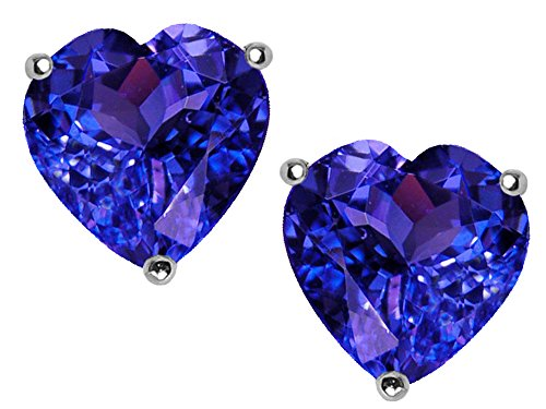 - Star K 7mm Heart Simulated Tanzanite Earrings Studs Sterling Silver
