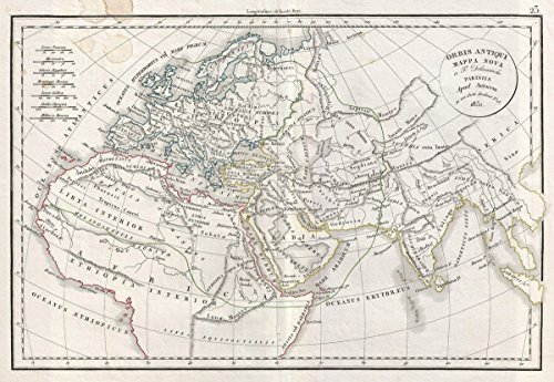 Historic Map | Delamarche Map of The Ancient World: Europe, Africa, Asia, 1832 | Historical Antique Vintage Decor Poster Wall Art | 24in x 36in