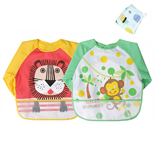 Momloves Infant Toddler Baby Waterproof Sleeved Bib, Set of 2, Free Baby Towels (6-24 Months) (Yellow + Green) ()