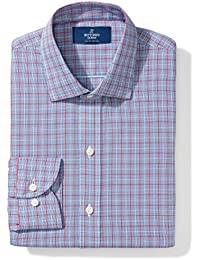 Men's Slim Fit Spread-Collar Pattern Non-Iron Dress Shirt Without Pocket