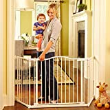 North States 72' Wide Deluxe Décor Baby Gate: Provides safety in extra-wide spaces with added one-hand functionality. Hardware mount. Fits 38.3'-72' wide (30' tall, Soft White)