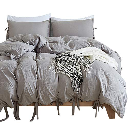 BullStar Natural Duvet Cover Twin Washed Cotton Duvet Cover Set Ultra Soft Breathable Beding Set (Twin, Gray)