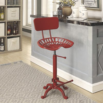 (CAROLINA CHAIR Farmhouse Tractor Seat Stool with Backrest, Red)