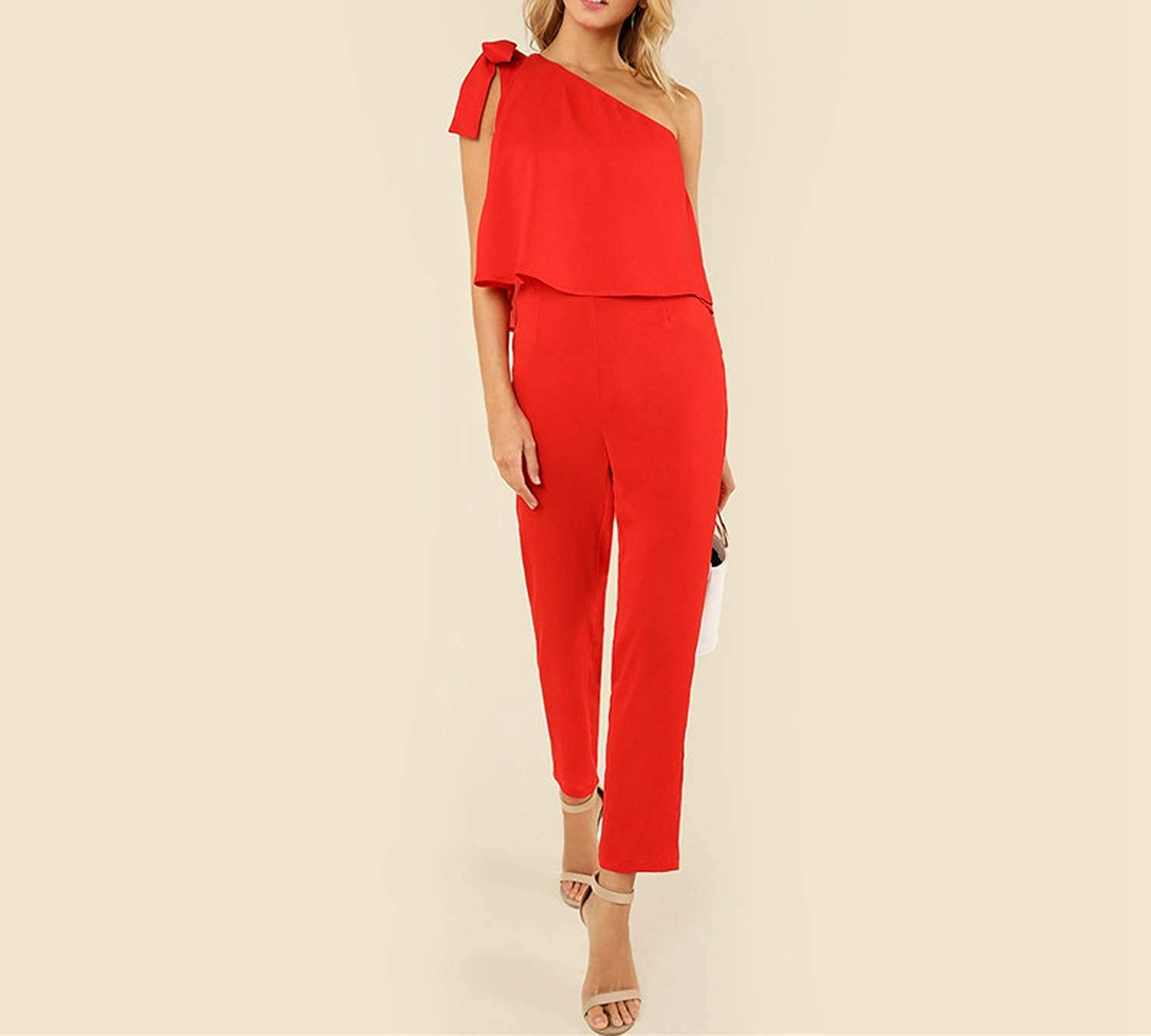 Red Tied One Shoulder Jumpsuit Ruffle Embellished Sleeveless Office Ladies Workwear Women Summer Elegant Jumpsuit