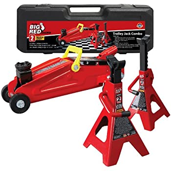 Torin Big Red Hydraulic Trolley Floor Jack Combo with 2 Jack Stands and Carrying Case, 2 Ton Capacity