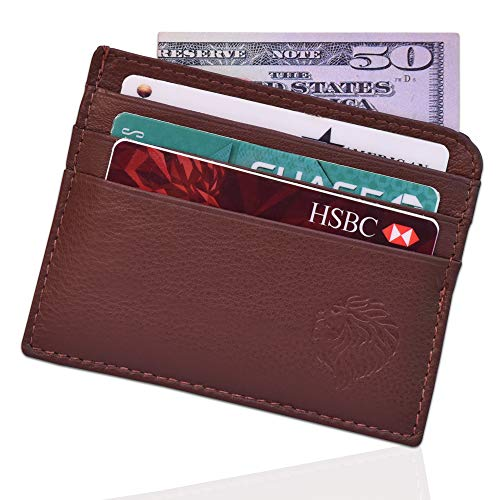 Louis Pelle Leather Men Minimalist Wallet RFID Blocking Slim - Leather Card Sleeve