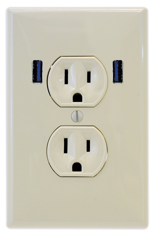 U-Socket ACE-8160 Light Almond 15-Amp AC Standard Duplex Wall Outlet with Built-in USB Charger Ports by U-Socket