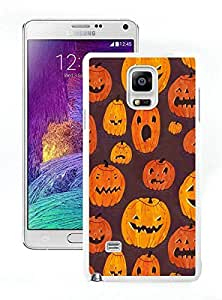 Special Custom Made Halloween Pumpkins Pattern White Samsung Galaxy Note 4 Case 1