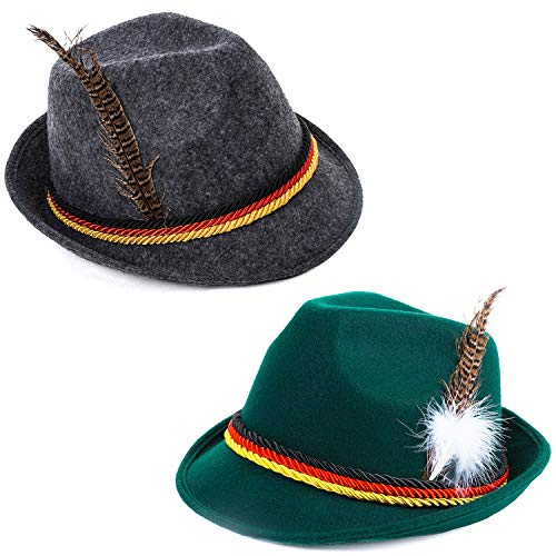 Tigerdoe Oktoberfest Hats - German Alpine Hat - Bavarian Hat with Feather (2 Pack)