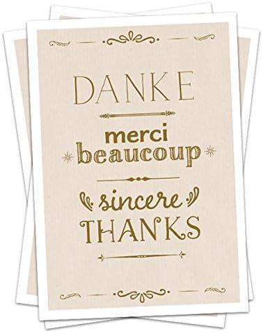 Anniversario Matrimonio Francese.5 Biglietti Di Ringraziamento Grazie Merci Beaucoup Sincere
