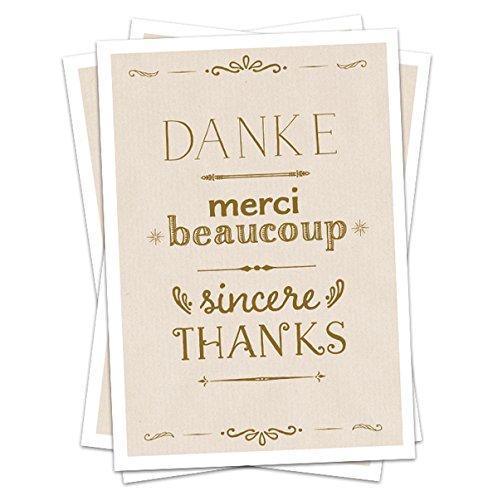 5 Danksagungskarten DANKE, merci beaucoup, sincere THANKS, deutsch, englisch, französisch, Dankeskarte in CREME für deine Hochzeit, Geburtstag, Jubiläum etc., Recyclingpapier